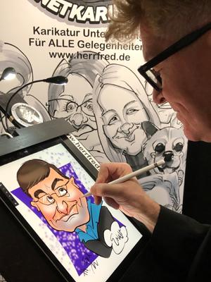 digitaler Karikaturist Schnellzeichner digital Herr Fred Karikaturen