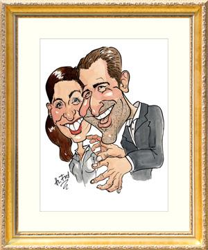 Karikatur Geschenk Hochzeit zeichnen lassen Rahmen Herr Fred