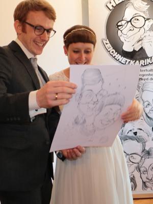 Karikaturen Schnellzeichnungen Hochzeit Hochzeitspaar live