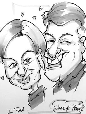 Karikaturen zeichnen lassen Hochzeit in Schwarz Weiß