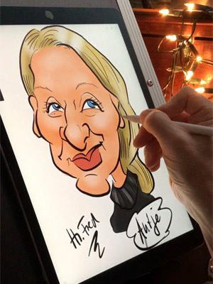 Karikaturist digital iPad Zeichner Hochzeit Herr Fred