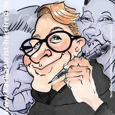 Karikaturist Herr Fred ist Messezeichner