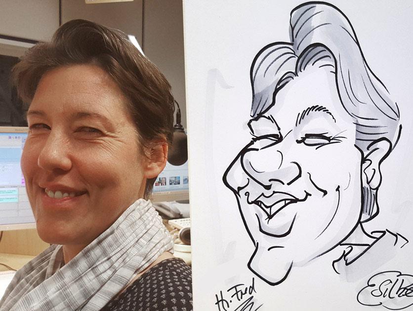Karikatur in Schwarz Weiß Karikaturist Schnellzeichner Herr Fred