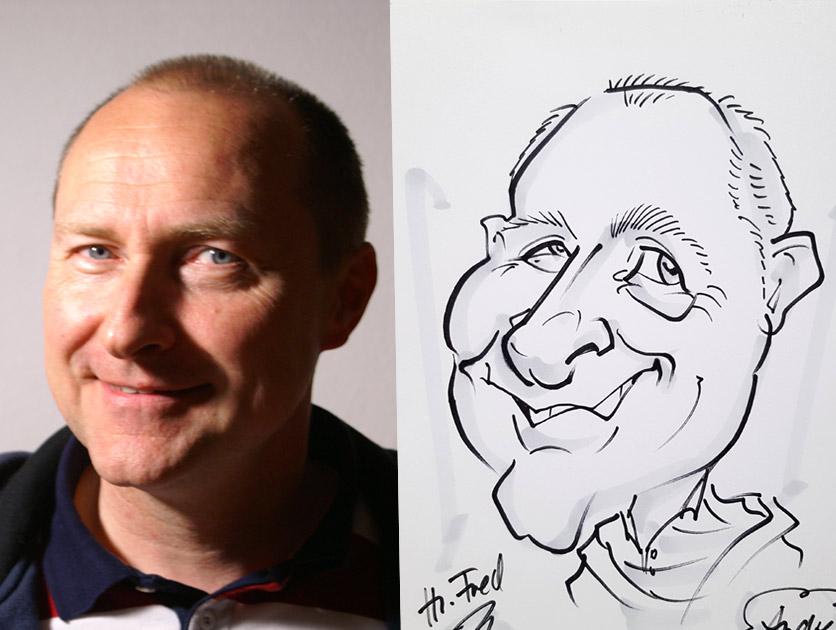 Karikaturist und Schnellzeichner zeichnet live auf Hochzeit und Messe
