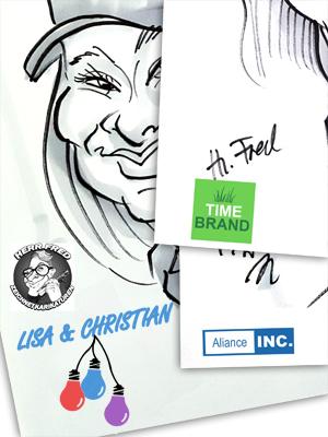 Karikaturist Schnellzeichner Logodruck auf Messe Hochzeit
