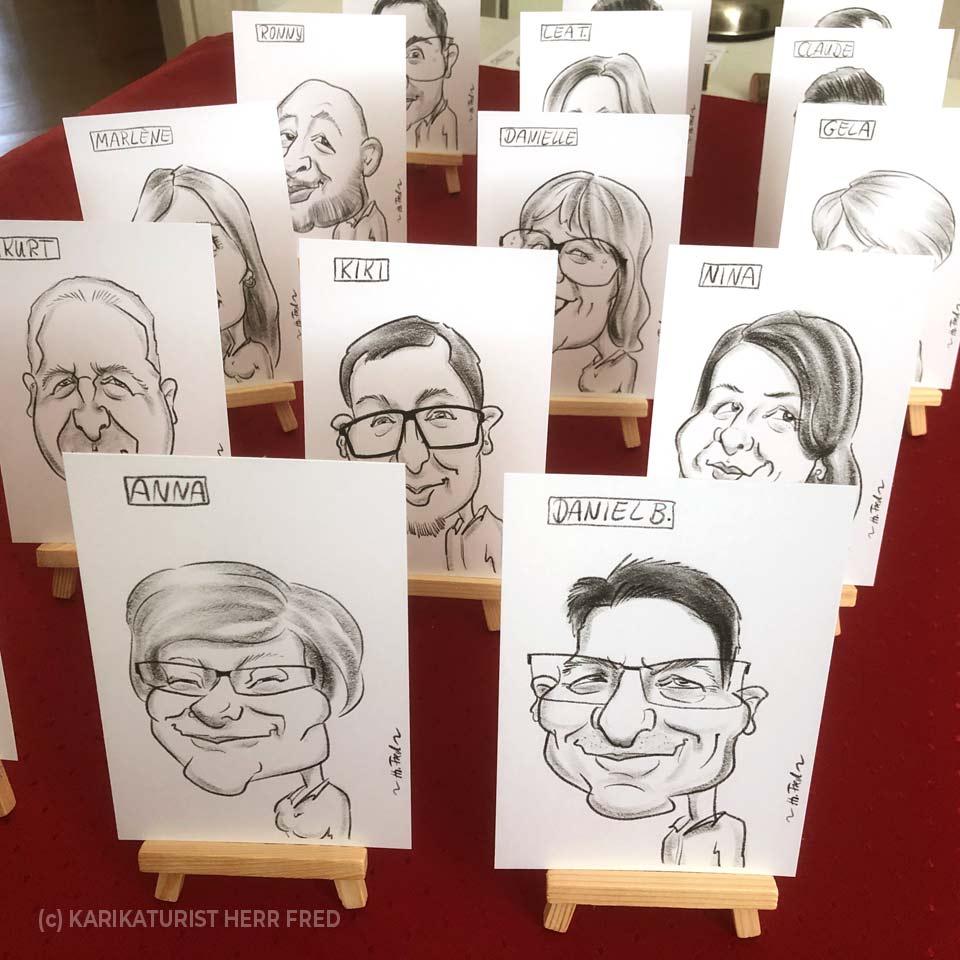 Originelle Tischkarten Hochzeit Karikatur zeichnen lassen